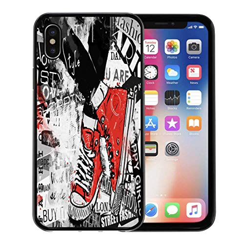 (Semtomn Phone Case for Apple iPhone Xs case,Paris Pair of Sneakers Vintage Youth Pattern Boots Canvas for iPhone X Case,Rubber Border Protective Case,Black)