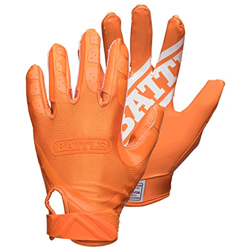 Battle Youth DoubleThreat Football Gloves, Orange/Orange, Large ()