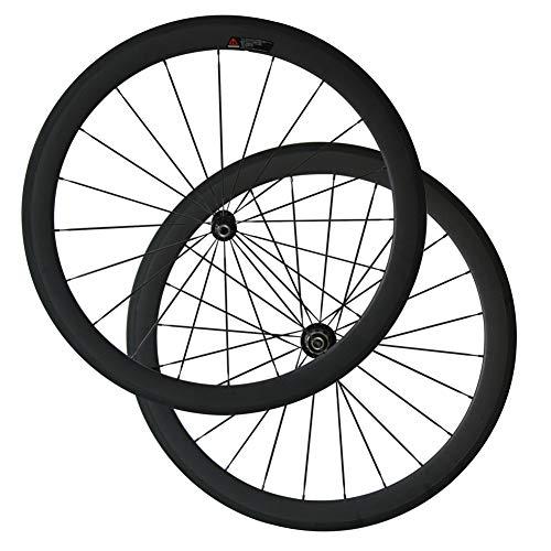 Bike Wheelset, Carbon Fiber Bicycle Wheels with 700C Powerway R36 Ceramic Bearing Hub CN424 Spokes(50mm Clincher, 25mm Width)