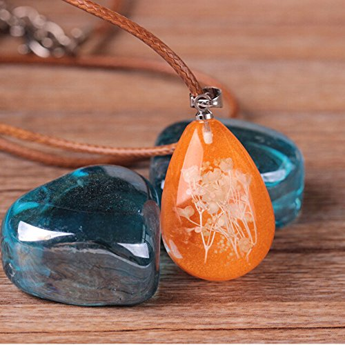 Classic Gemstones - Luminious Pendant Necklace,Haluoo Women Creative Waterdrop Gemstone Necklace Girls Classic Dried Flower Teardrop Pendant Chain Ladies Vintage Featured Gemstone Drop Leather Necklace Jewelry (Orange)
