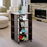 33''H 5-tier Rolling Storage Shelves Display Cart Wood Living Room Home Furniture