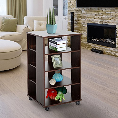 33''H 5-tier Rolling Storage Shelves Display Cart Wood Living Room Home Furniture by Happybeamy