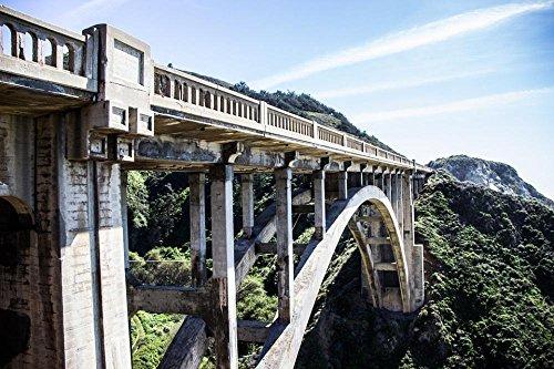 (Quality Prints - Laminated 36x24 Vibrant Durable Photo Poster - Bridge Concrete Arch Gorge Structure Construction Road Transportation Engineering Bridge Construction Architecture Highway Concrete)
