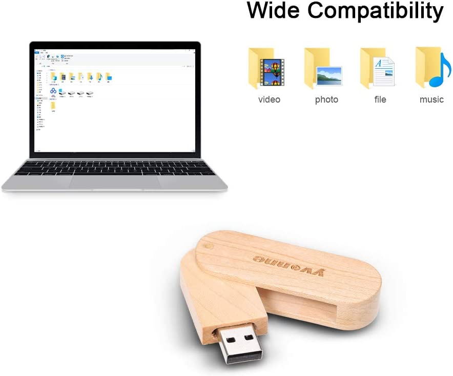 Docooler Wooden USB Flash Drive Rotatable Pen Drive Memory Stick Pendrives Gift Yvonne 16GB