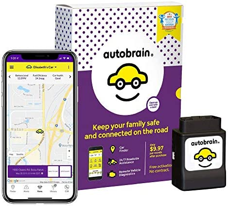 autobrain OBD Real-Time GPS Tracker for Vehicles   Auto Health Diagnostics   Parking Locator & Car Finder Tracker   Teen & Senior Driver Monitoring   24/7 Emergency Assistance (1 Month of Service)