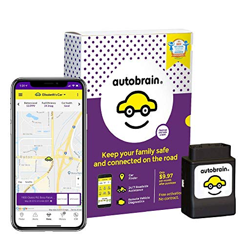 Autobrain OBD Real-Time GPS Personal Vehicle Tracker | Auto Health Diagnostics | Parking Locator & Car Finder Tracker | Teen & Senior Driver Monitoring | 24/7 Emergency Roadside Assistance