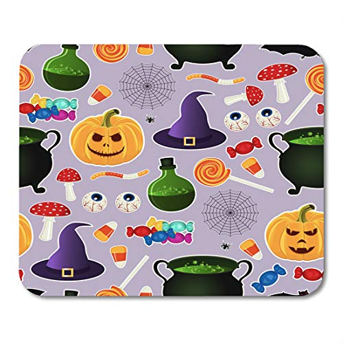 Boszina Mouse Pads Colorful Related Halloween Holiday Object Silhouettes on Purple Traditional Witches Attributes Bright Mouse Pad for notebooks,Desktop Computers mats 9.5