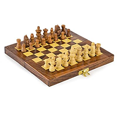 Kimaro Wooden Travel Chess Set - 6 in x 6 in - Folding Chess Board With Wood Pieces in Case - Handmade