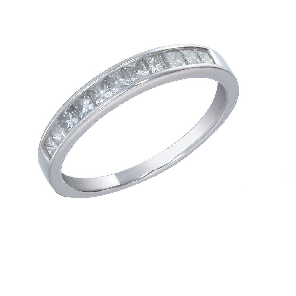 1/2 CT I1-I2 AGS Certified Princess Diamond Wedding Band 14K White Gold Size 8
