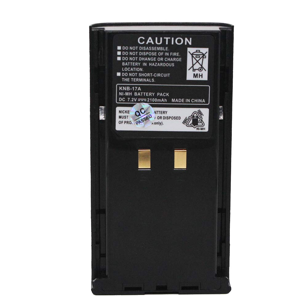 KNB-17A 2100mAh Ni-MH Battery Replacement for Kenwood KNB-16 KNB-17 KNB-21N KNB-22N TK-190 TK-280 TK-290 TK-380 TK-390 TK-480 TK-481 TK-5400 Two Way Radio High-Capacity Battery Pack Black