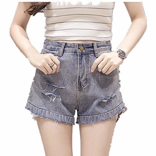 y primavera vaquero delgada ancha verano alta mujer pantalones de salvajes y otoño shorts Agujero pantalones primavera vaqueros azul era claro cintura de pantalones pierna Rwn4SHpq5