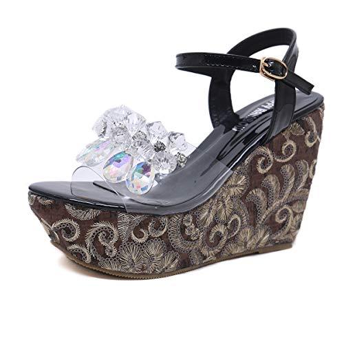 Slingback a Pantoufles Creux Toe Pailleté Yan 37 Flip forme Compensées Antidérapant Nouveau Flop Chaussures Sandales Femmes Peep Mode Strass Plate UZ6qpR