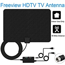 2018 LATEST VERSION HDTV Antenna,ILamourCar Indoor Amplified TV Antennas 60Mile / 95Km Range with Detachable Amplifier Signal Booster, USB Power Supply and 5M / 16.5FT Antenna Reception HD Digital Signal UHF / VHF / HDTV (Black)