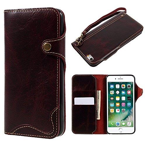 Oil Wax Genuine Leather Button Closure Wallet Flip Tasche Hüllen Schutzhülle - Case für iPhone 6s Plus/6 Plus with Lanyard - Wine Red