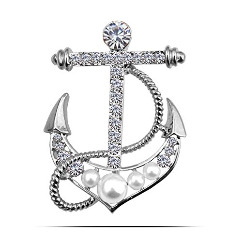 JUESJ Fashion Pearl Stoneboat eboat Anchor Brooch Pin for Crew Sailor Badge Gifts (Silver)