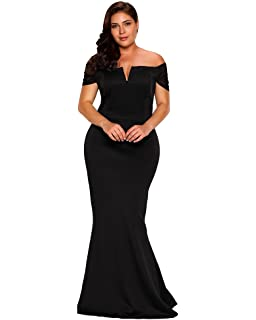 73bc4060827 FUSENFENG Women s Plus Size Off Shoulder Mermaid Formal Party Long Maxi Dress  Evening Gowns