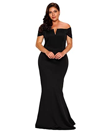 FUSENFENG Womens Plus Size Off Shoulder Mermaid Formal Party Long Maxi Dress Evening Gowns