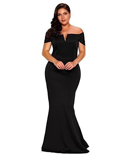 Fusenfeng Womens Plus Size Off Shoulder Mermaid Formal Party Long