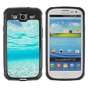 Suave TPU Caso Carcasa de Caucho Funda para Samsung Galaxy S3 I9300 / Light Blue Sea Under Water Paradise Waves / STRONG