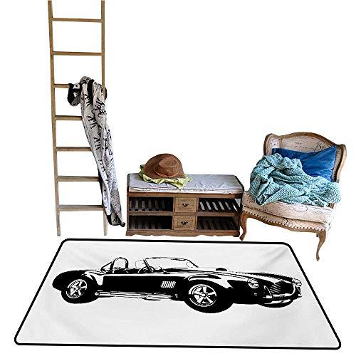 Rugs Carpet Cars,Silhouette Classic Sport Car Ac Cobra Roadster American Antique Engine Autosport,Black White.jpg 40