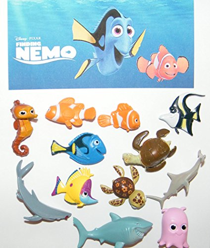 - Disney Finding Nemo Mini Figure Set Toy Playset of 12 with Nemo, the 3 Sharks, Squirt the Sea Turtle, Dory, Marlin Etc and a Special Disney Dog Tag