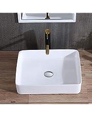 Modern Rectangular Porcelain Above Counter White Ceramic Bathroom Vessel Sink (E-CL-1321)