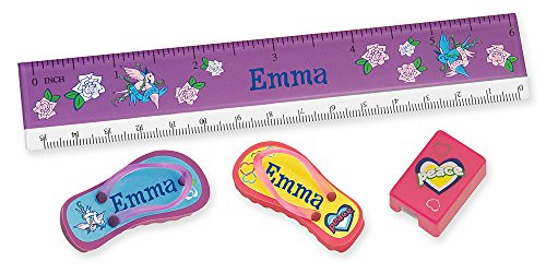 NameStar 4-Piece School Accessory Kit: Ruler, Erasers, Sharpener, Personalized Peace/Hearts and Dove Designs - Emma -