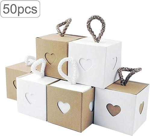 Welltobuy 50 PCS Cajas de Dulces de Boda Papel Kraft Vintage con Etiquetas de Regalo Paquete de Dulces de Yute Natural Caja de Regalo para Bodas: Amazon.es: Hogar