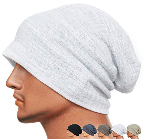 Rayna Fashion Men Women Summer Thin Slouchy Long Beanie Hat Cool Baggy Skull Cap Stretchy Knit Hat Lightweight (Oversized Wool Cap)