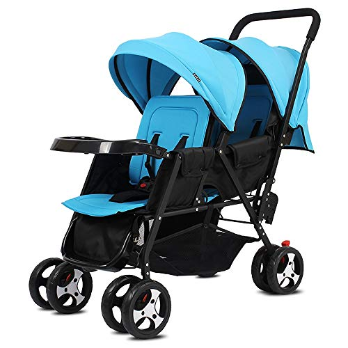 Laz Double Stroller Convenience Urban Twin Carriage Stroller Tandem Collapsible Stroller All Terrain Double Pushchair for Toddler Girls and Boys Stable Stroller Frame (Color : A)