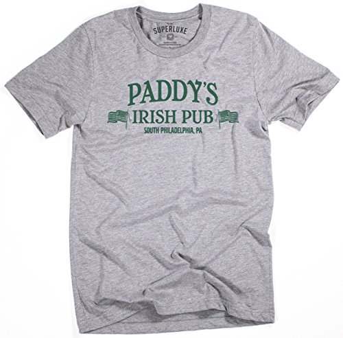 - Superluxe Clothing Mens Unisex Paddys Pub Funny Irish Philadelphia St Patricks Day Drinking Bar Crawl Tri-Blend T-Shirt, Grey Triblend, X-Large