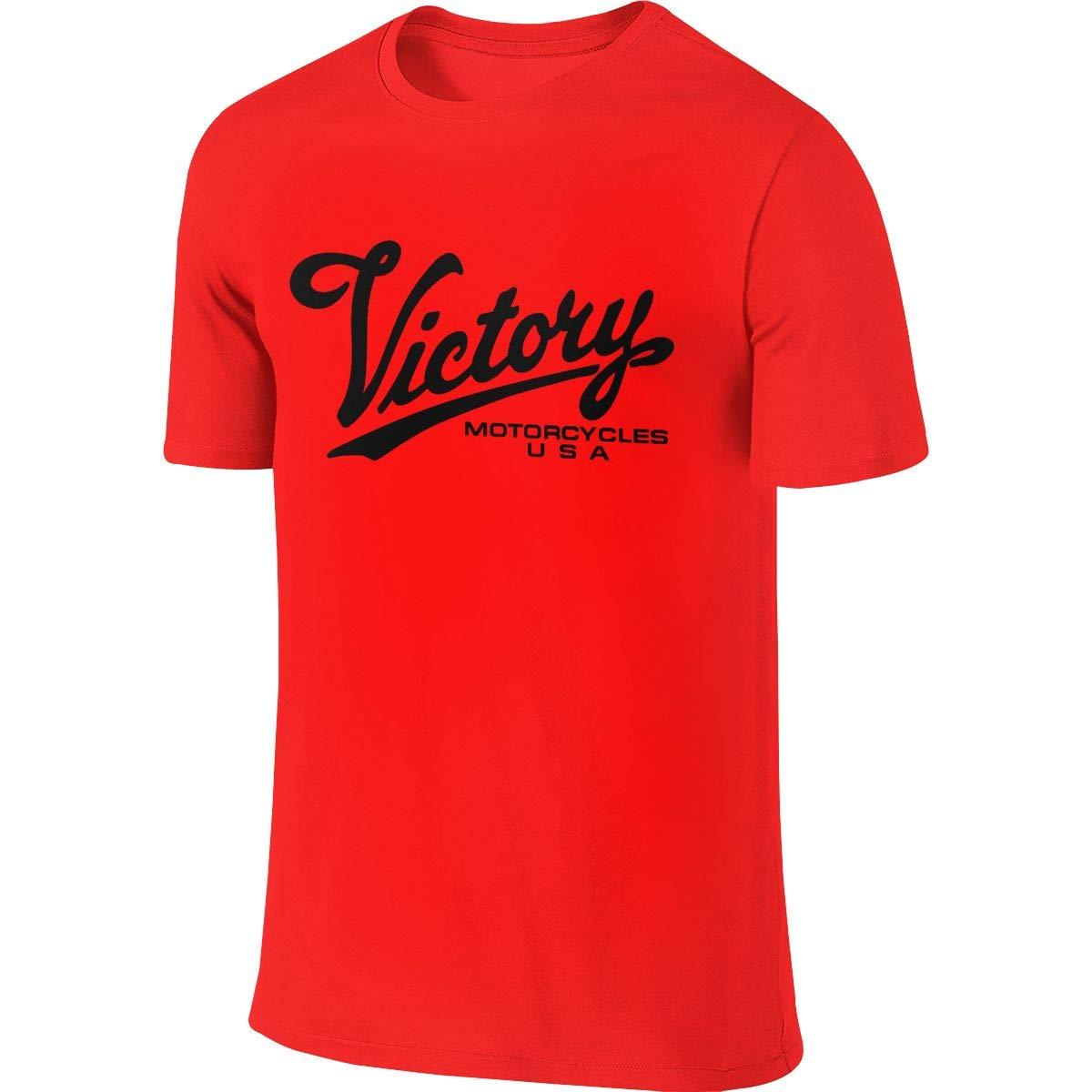 SHENGN Mens Custom Novelty Tops Victory Motorcycle Logo Tshirts