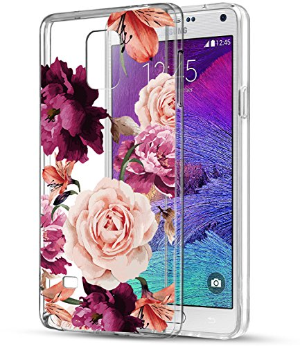 Note 4 Case with flowers, BAISRKE Slim Shockproof Clear Floral Pattern Soft Flexible TPU Back Cove for Samsung Galaxy Note 4 SM-N910S/SM-N910C [Purple Pink] ()