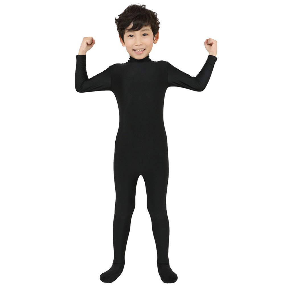 Kids Girls Turtleneck Long Sleeve Unitards One Piece Spandex Full Body Catsuit Dance Leotard Costumes