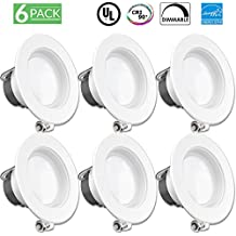"6 PACK - 11Watt 4""- Inch ENERGY STAR UL-Listed Dimmable LED Downlight Retrofit Baffle Recessed Lighting Kit Fixture, 5000K Daylight LED Ceiling Light, Wet Location - 600LM, CRI 90 …"