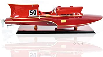 SHIPBO DECOR Ferrari Hydroplane Wood Boat Model 21 Fully Assembled