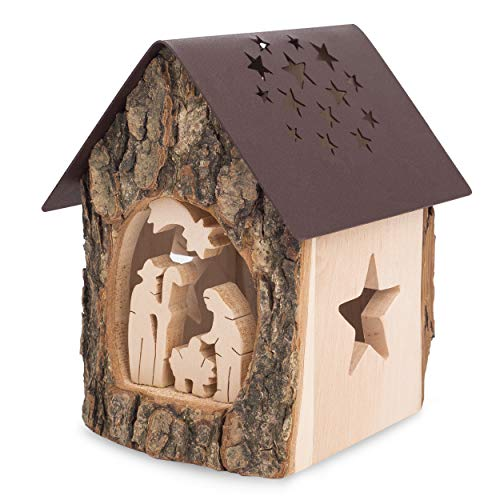 Forest Decor Nativity Scene Tealight Candle Holder, Unfinished Bark and Finished Wood Craft, Decorative Wooden Home, Living Room and Bedroom Decor, Handmade in Germany