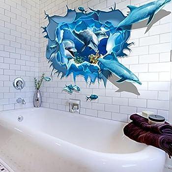 "Towallmark 23.6*35.4"" PVC Dolphin Sea Ocean Bathroom Decor 3D Wall Stickers"
