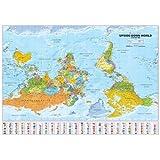 Upside Down World Political Wall Map: Medium 1:40,000,000