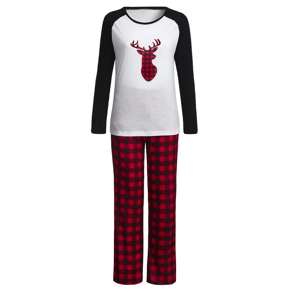 Christmas Women Pajamas,Long Sleeve Elk Plaid Top+Pant Family Pajamas(White-Women, S) Promisen