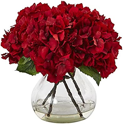 Nearly Natural 1441 8 5 H Red Hydrangea Silk Flower Arrangement With Glass Vase Amazon Sg Home