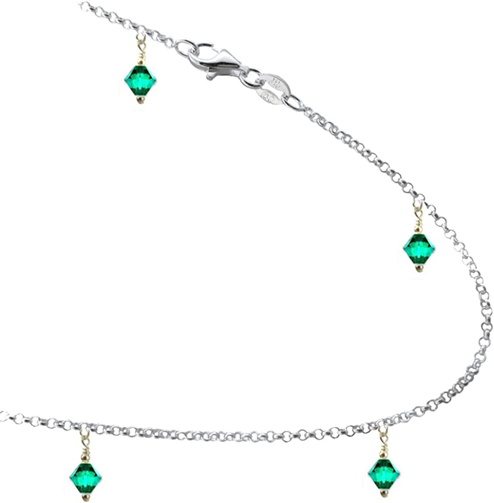 JOSCO Green Color Crystals with .925 Sterling Silver Link Anklet, Bracelet. 7,8,9,10,11,12,13 Inches