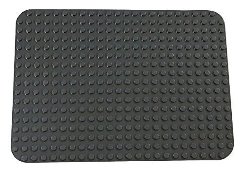 Strictly Briks Classic Big Briks Baseplate 15 x 10.5 Large Building Brick Baseplate 100% Compatible with All Major Brands   Large Pegs for Toddlers   Single Gray Flat Bottom Base Plate