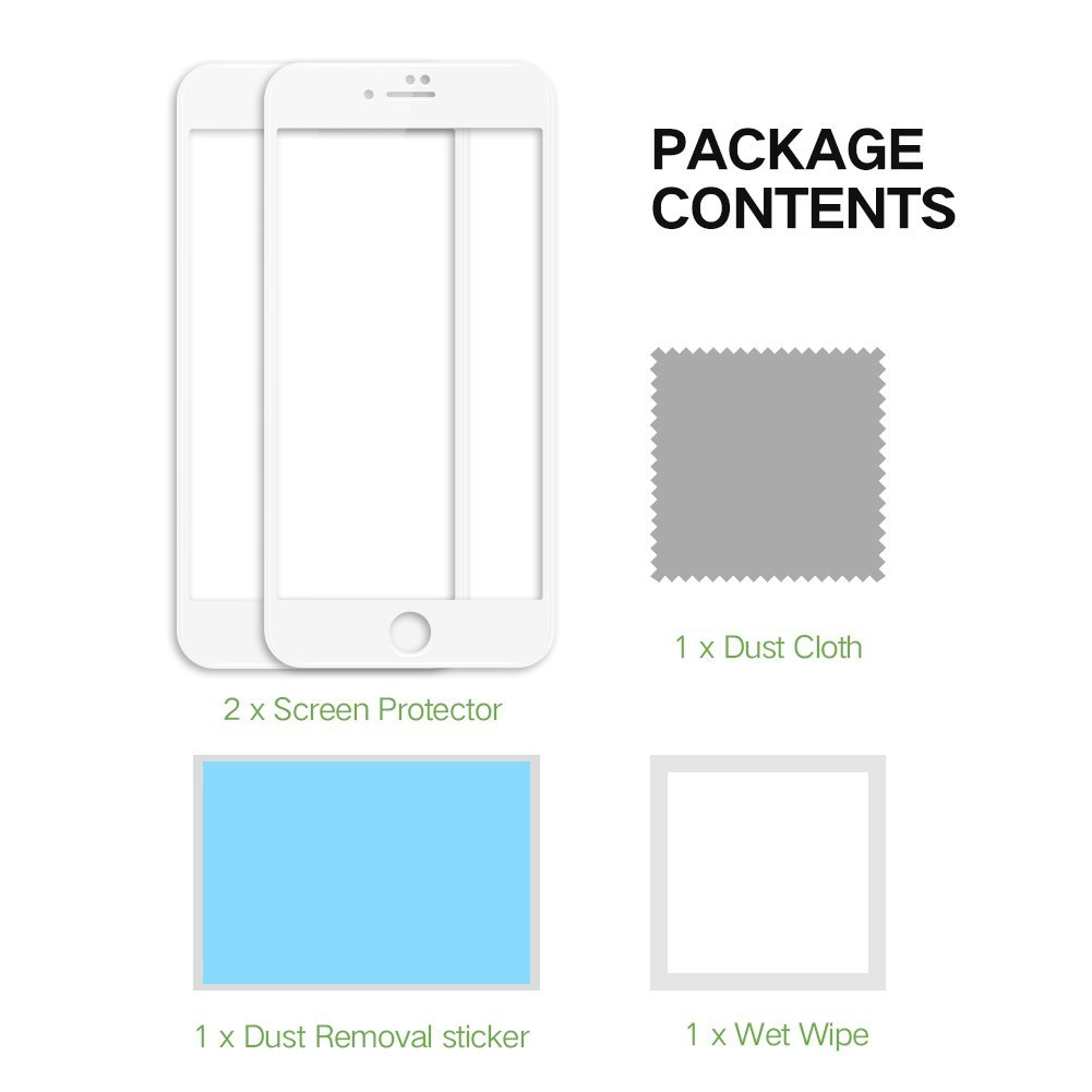 EyeO2 Screen Protector for iPhone 7 3D NM Full Screen Edge to Edge HD iPhone 7 Screen Protector Tempered Glass iPhone 7 Glass Screen Edge Protective Accessories iPhone Film (White Soft Edge 2 Pack)