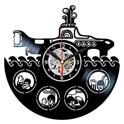 The Beatles Yellow Submarine Clock - Music Vinyl Record Wall Decorations - Birthday Gifts for Men (Submarine Clock)