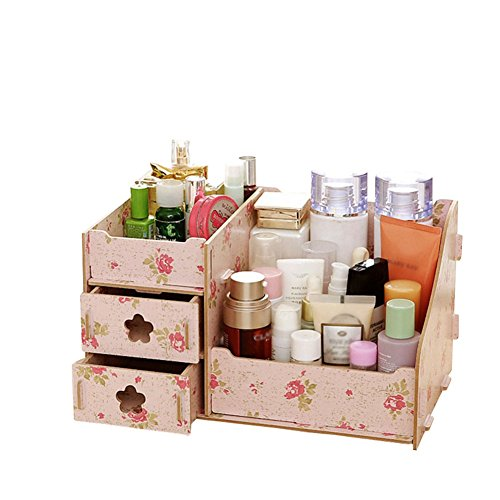 AnchorX Jewelry Container Makeup Organizer Case Handmade Assembly Cosmetic Organizer Wood Box Flower (Tone Wood Bangle)