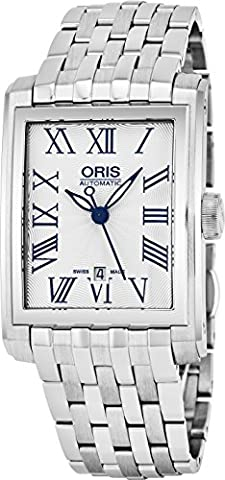 Oris Rectangular Date Mens Silver Face Luminous Hands Swiss Made Stainless Steel Rectangle Automatic Watch 01 561 7657 4071-07 8 21 (Watch Automatic Oris)