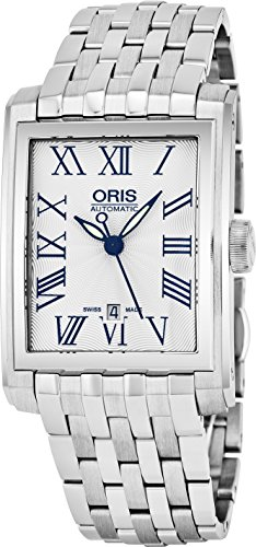 Oris Rectangular Date Mens Silver Face Luminous Hands Swiss Made Stainless Steel Rectangle Automatic Watch 01 561 7657 4071-07 8 21 82