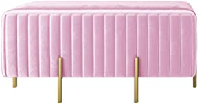 ZAIPP Velvet Footstool,Luxury Modern Upholstered Ottoman Foot Rest Stool Extra Seat Gold Legs Living Room Bedroom Decor-Light Pink 90x45x42cm(35x18x17inch)