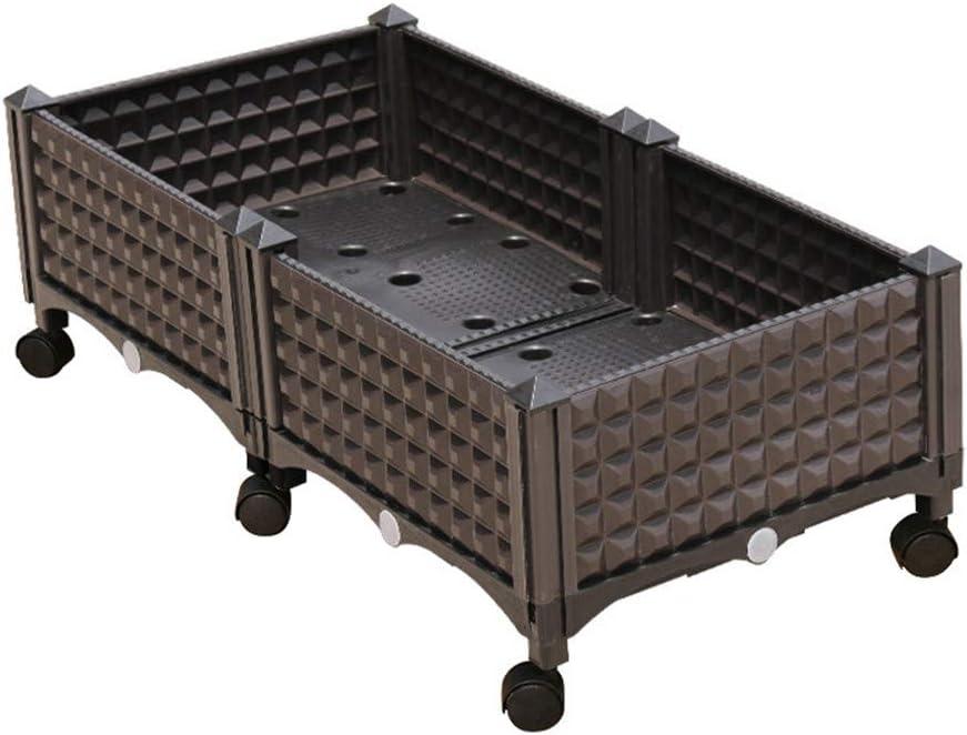 Jardín de plástico levantado cama marrón,Montar Contenedor de caja plantadora elevada interior exterior Uso para la decoración de jardín de jardín Patio de hortalizas de jardín Patio de la casa,2boxes: Amazon.es: Deportes